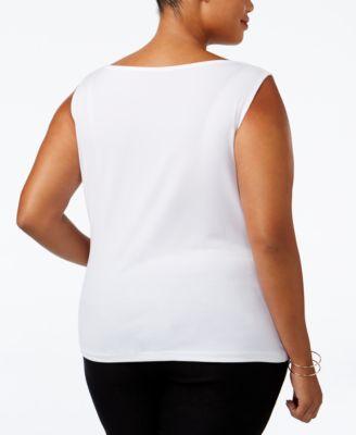 Calvin Klein Plus Size Cowl-Neck Top