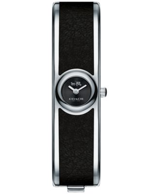 COACH Women's Scout Stainless Steel & Black Leather Bangle Bracelet Watch 16mm 14502607