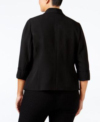 Kasper Plus Size Open-Front Soft Jacket