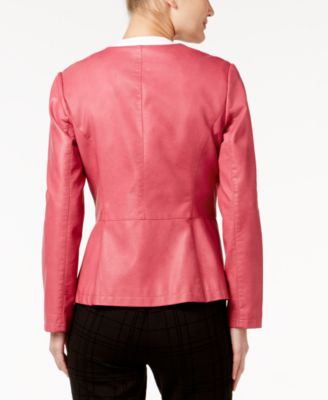 Alfani Faux-Leather Peplum Jacket