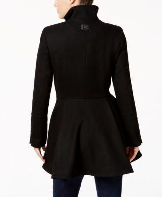 Calvin Klein Wool-Blend Skirted Peacoat