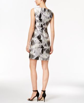 Calvin Klein Metallic Brocade Sheath D..