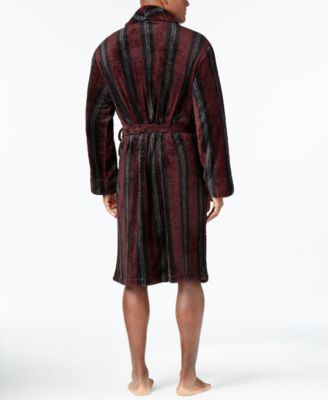 Club Room Mens Burgundy Striped Robe