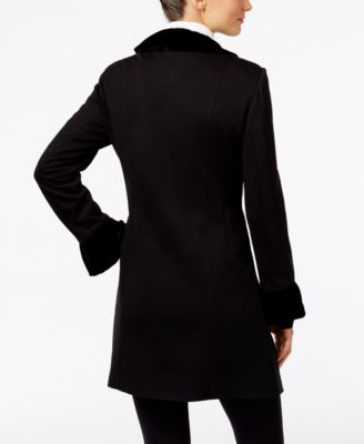 INC International Concepts Velvet Ruffled Coat