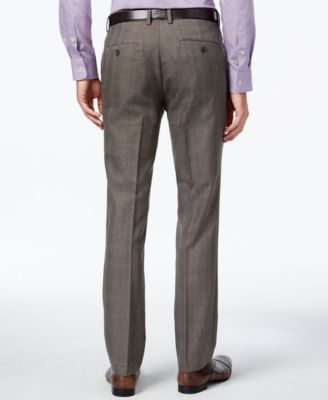 Kenneth Cole Reaction Mens Slim-Fit Brown Glen Plaid Dress Pants