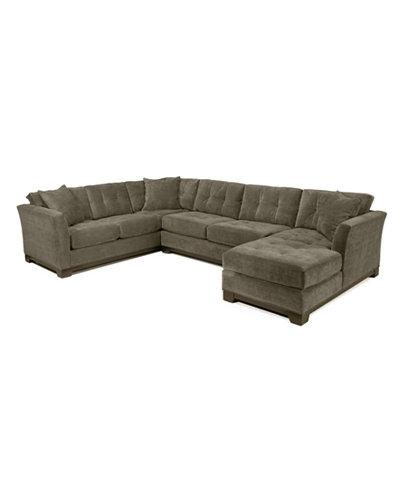 Elliot Fabric Microfiber 3 Piece Chaise Sectional Sofa