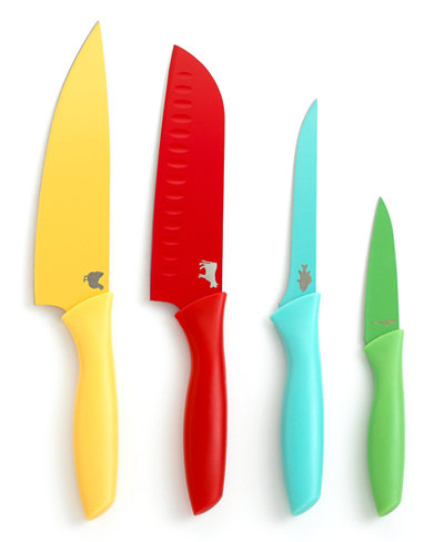 Martha stewart collection color coded cutlery set of 4 for Kitchen set colour