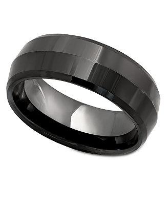 Men's Ring, Black Ceramic Ring - Rings - Jewelry & Watches ...