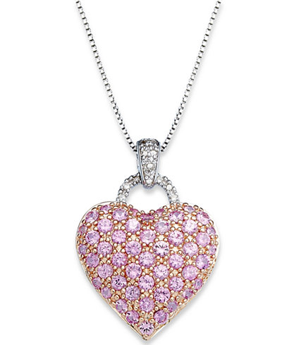 Pink Sapphire 2 1 4 Ct T W And Diamond Accent Heart