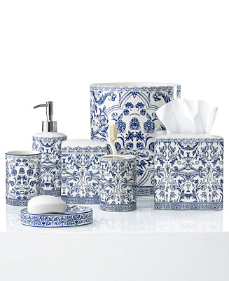Kassatex bath accessories orsay collection bathroom for Blue white bathroom accessories