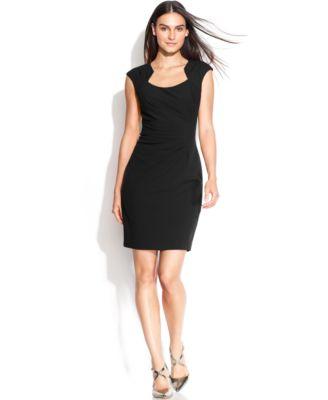 Calvin Klein Petite Cap-Sleeve Cutout-Neckline Sheath