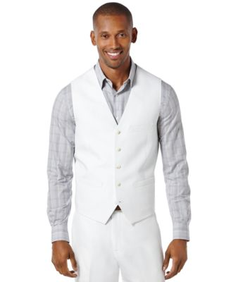 Perry Ellis Mens Linen Solid Vest
