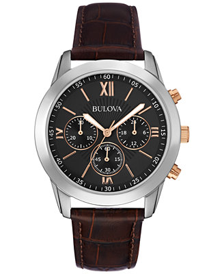 bulova s chronograph brown leather 40mm