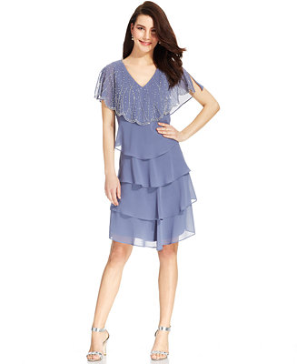 Patra Embellished Tiered Chiffon Dress Dresses Women