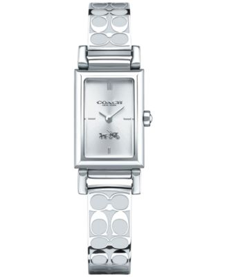 COACH WOMEN'S SIGNATURE ETCHED STAINLESS STEEL BANGLE BRACELET WATCH 30X17MM 14502121