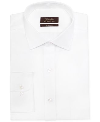 Tasso elba non iron white herringbone dress shirt dress for White herringbone dress shirt