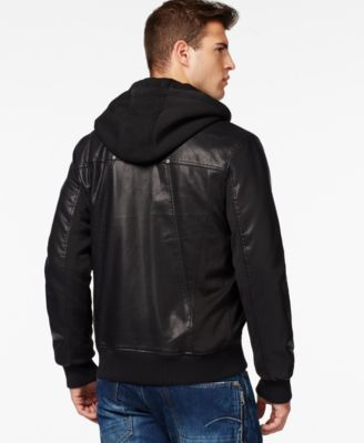 GUESS Faux-Leather Mixed Media Bomber ..