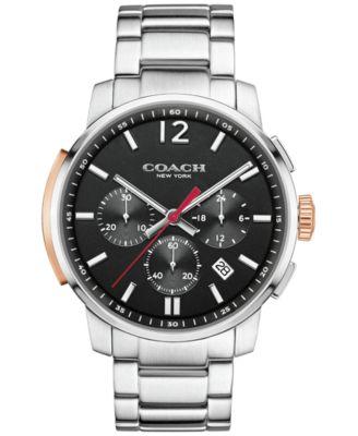 COACH MEN'S BLEECKER CHRONO STAINLESS STEEL BRACELET WATCH 42MM 14602009, MACY'S EXCLUSIVE