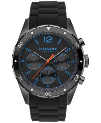COACH MEN'S CHRONOGRAPH SULLIVAN SPORT BLACK SILICONE STRAP WATCH 44MM 14602044, MACY'S EXCLUSIVE