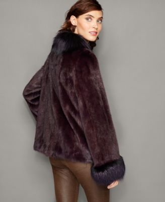 The Fur Vault Fox-Trim Mink Fur Jacket