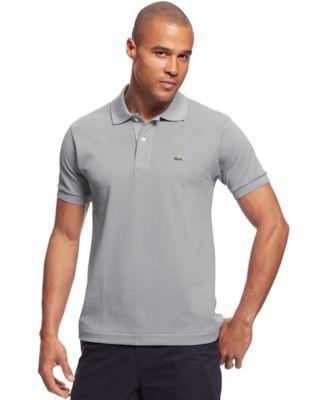 LACOSTE Men'S Regular Fit Pima Cotton Interlock Polo in Platinum
