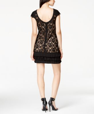 Jessica Simpson Cap-Sleeve Tiered Lace Dress