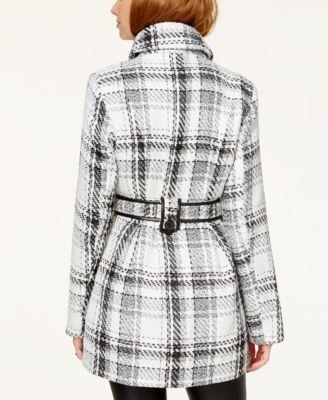 BCX Juniors Double-Breasted Faux Leather-Trim Plaid Outerwear Coat