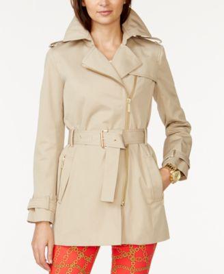 MICHAEL Michael Kors Petite Belted Front-Zip Trench Coat