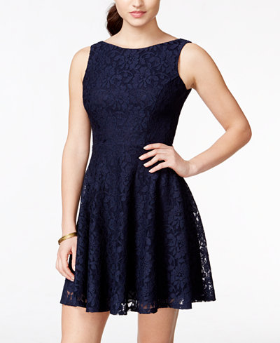 Speechless Juniors Lace Fit Amp Flare Tank Dress Only At