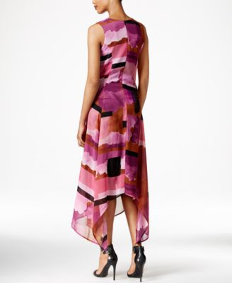 Bar III Printed Asymmetrical Midi Dress