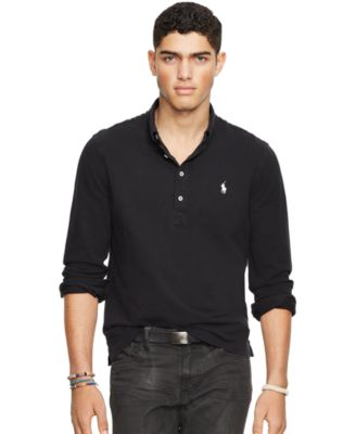 Ralph Lauren Men Grey Long Sleeved Soft Mesh Polo
