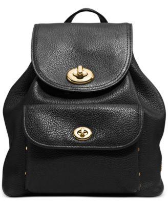 COACH Mini Turnlock Rucksack in Pebble Leather