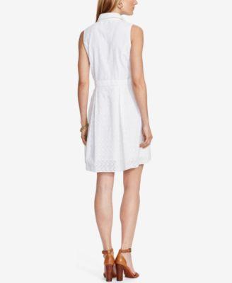 Lauren Ralph Lauren Eyelet Fit & Flare Shirtdress