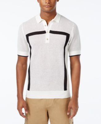 Sean John Mens Intarsia Sweater-Knit Polo