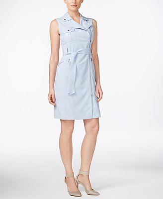 calvin klein belted asymmetrical zip sheath dress