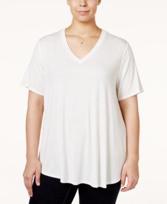 Stoosh Trendy Plus Size V-Neck Basic T-Shirt