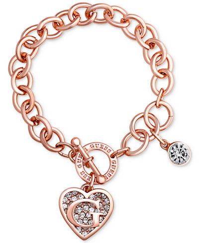 GUESS Rose Gold-Tone Link Charm Bracelet - Jewelry ...