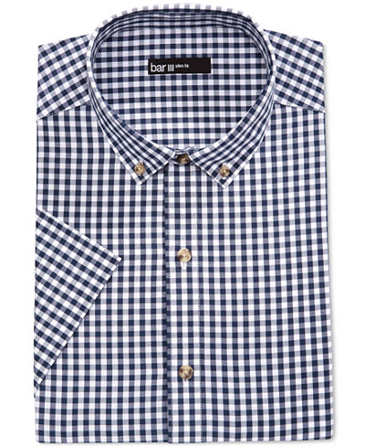 Bar Iii Men 39 S Slim Fit Navy And White Gingham Short Sleeve