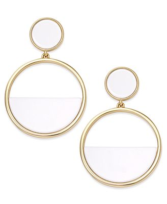 kate spade new york gold tone half drop hoop