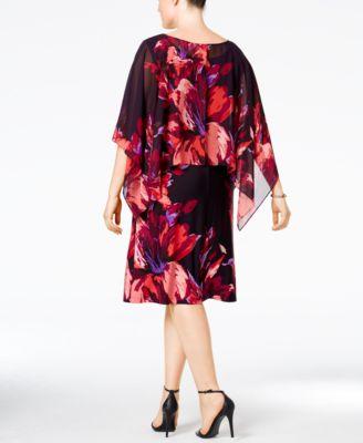 SL Fashions Plus Size Chiffon-Overlay Capelet Dress