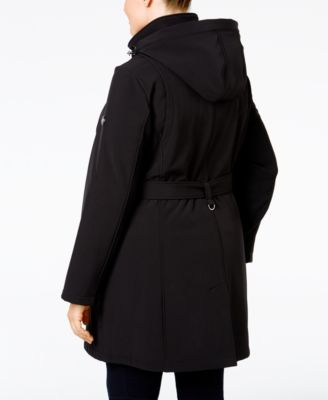 Calvin Klein Plus Size Double-Breasted Water-Resistant Hooded Coat