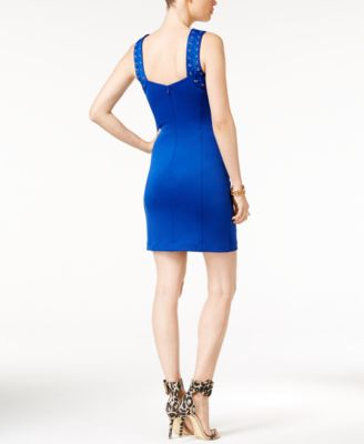 GUESS Sleeveless Lace-Up Scuba Bodycon Dress