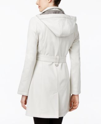 Calvin Klein Hooded Water-Resistant Double-Breasted Softshell Jacket