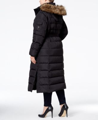 MICHAEL Michael Kors Plus Size Hooded Faux-Fur-Trim Down Belted Maxi Puffer Coat