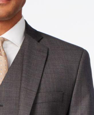 MICHAEL Michael Kors Mens Classic-Fit Charcoal Windowpane Plaid Vested Suit