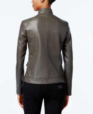 Cole Haan Leather Stand-Collar Jacket Image