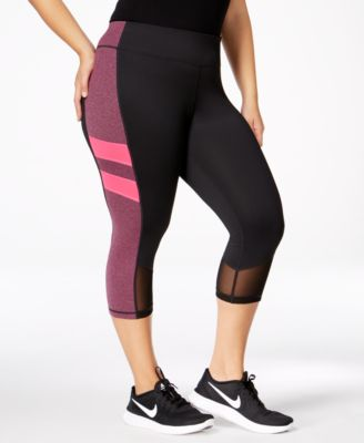 Ideology Plus Size Colorblocked Capri Leggings, Only at Macy's