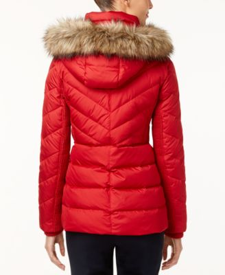 MICHAEL Michael Kors Petite Faux-Fur-Trim Hooded Puffer Coat