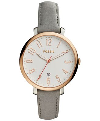 fossil s jacqueline gray leather 36mm