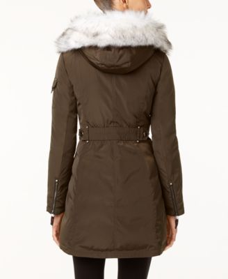 Laundry by Shelli Segal Faux-Fur-Trim Hooded Parka Image